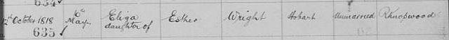 Eliza Wright Birth 1818