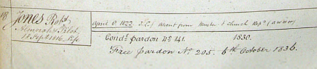 Robert Jones - Pardon from Conduct Register